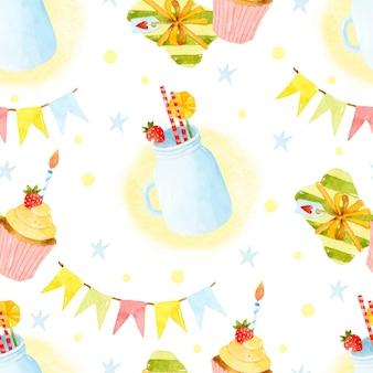 Geburtstagsparty aquarell nahtlose muster
