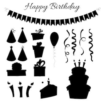 Geburtstagssatz silhouetten mit traditionellen attributen auf weißem hintergrund. cartoon-stil. vektor.