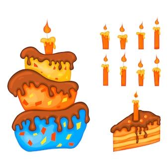 Geburtstagsset für weihnachtskarte oder flyer mit kuchen. cartoon-stil. vektor.