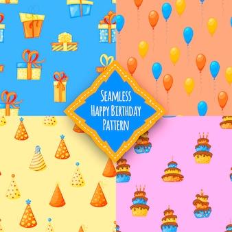 Geburtstagsset mit nahtlosen mehrfarbigen mustern