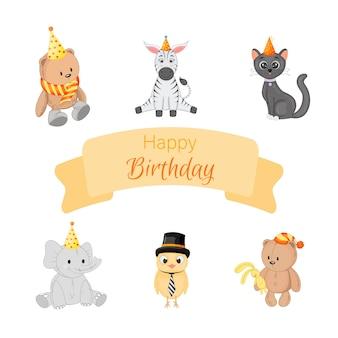 Geburtstagsset mit süßen tieren auf weißem hintergrund. cartoon-stil. vektor.
