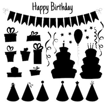 Geburtstagsset von silhouetten mit traditionellen attributen