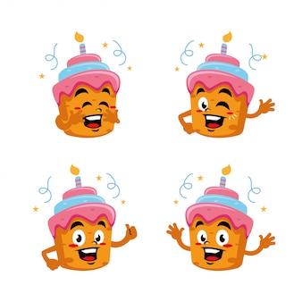 Geburtstagstorte charakter maskottchen aufkleber cartoon