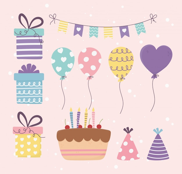 Geburtstagstorte geschenke luftballons bunting dekoration feier happy day set illustration