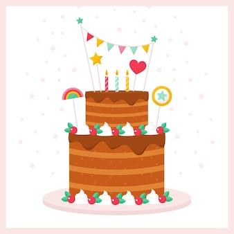 Geburtstagstorte im flachen design mit topper