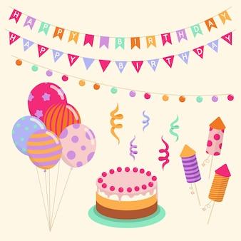 Geburtstagstorte und luftballons dekoration