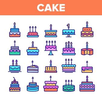 Geburtstagstorte zeichen icons set