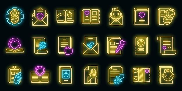 Geburtsurkunde symbole gesetzt. umriss-satz von geburtsurkunde-vektorsymbolen neonfarbe auf schwarz
