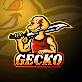 Gecko esport logo maskottchen design