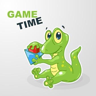 Gecko-kind der zeichentrickfigur, das mit würfeln spielt
