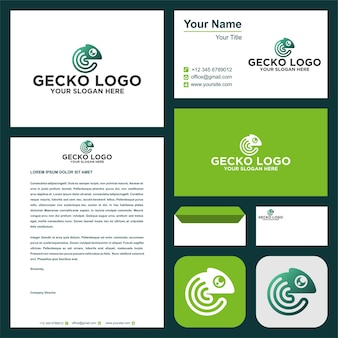 Gecko-logo und visitenkarte premium-vektor