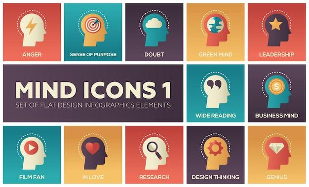 Gedankensymbole - modernes set von flachen design-infografik-elementen. konzepte von wut, zielstrebigkeit, zweifel, grün und geschäft, führung, breite lektüre, filmfan, verliebt, forschung, design, genie