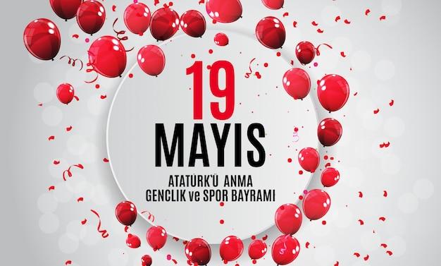 Gedenken an atatürk, jugend- und sporttag banner