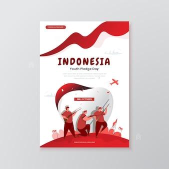 Gedenken an die illustration des indonesischen jugendversprechenstages auf dem plakatkonzept