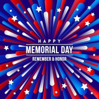 Gedenktag-begrüßungsentwurf mit feuerwerkskörper-strahlen der patriotischen farben der usa