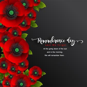 Gedenktag, damit wir nicht vergessen. realistische rote mohnblume mit papierschnittkunst und bastelart auf hintergrund.