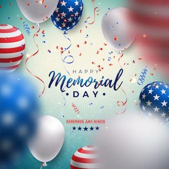 Gedenktag der usa-entwurfsschablone mit luftballon der amerikanischen flagge und fallendem konfetti auf glänzendem blauem hintergrund.