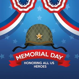 Gedenktagsfeierplakat mit militärhelm