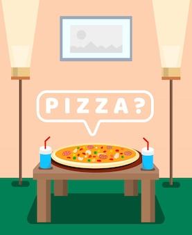 Gediente pizza auf tabellen-farbvektor-illustration