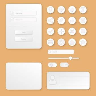 Gedruckter anmeldebildschirm und panel auf orangefarbenem hintergrund web- und mobile-ui-design weiße graue tasten ligh