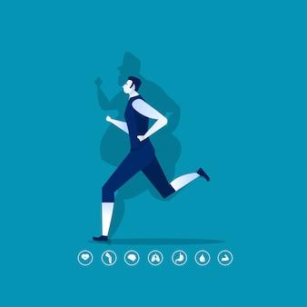 Geeigneter mann, der sport mit fettem schatten tut