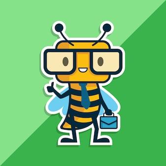 Geek bee logo charakter. maskottchen logo charakter.