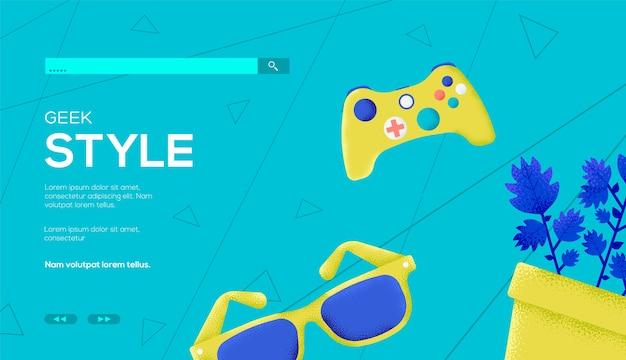 Geek concept flyer, web-banner, ui-header, website eingeben. kornstruktur und geräuscheffekt.