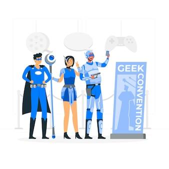 Geek konventionskonzeptillustration