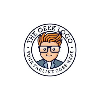 Geek logo design-vorlage vektor