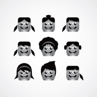 Geek-mädchen-avatara-porträt-set