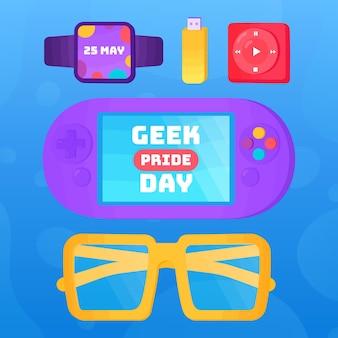 Geek pride day konsole und brille mit geräten