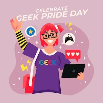 Geek stolz tag glückliche frau, die brille trägt