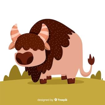 Gefährlicher büffel des flachen designs