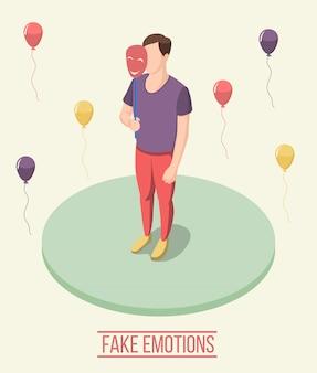 Gefälschte emotionen isometrische zusammensetzung