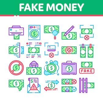 Gefälschte geldsammlung elements icons set