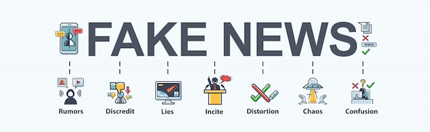 Gefälschte nachrichten banner bedeutung symbol in social media, gefälscht, diskreditiert, lüge, verwirrung.