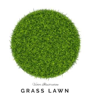 Gefälschter grüner gras- oder kunstrasenrundhintergrund. öko-hauptkonzept mit rasenfeld- oder teppichillustration isoliert