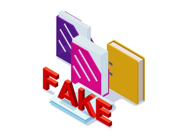 Gefälschtes dokumentenkonzept mit ordnern für papiere