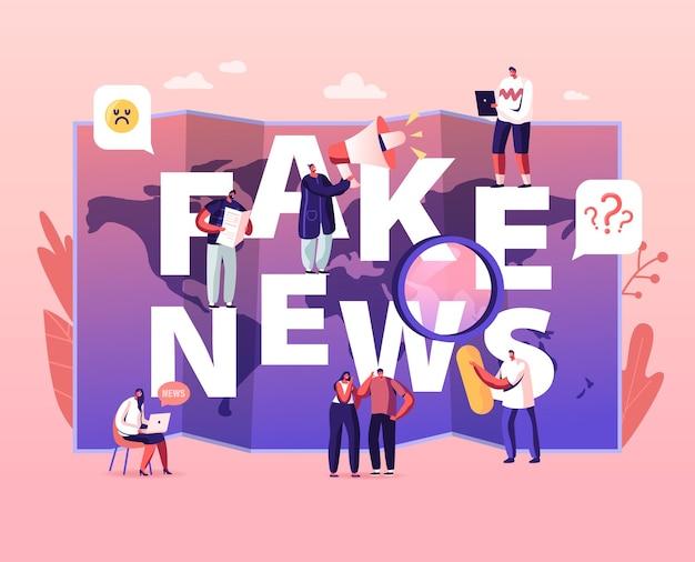 Gefälschtes nachrichtenkonzept. winzige charaktere, die zeitungen und soziale medieninformationen im internet auf weltkartenhintergrund lesen, cartoon-illustration