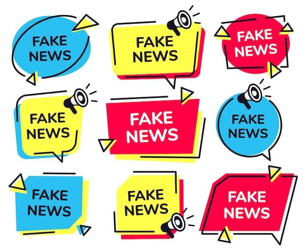 Gefälschtes nachrichtenlabel. nachrichtenabzeichen mit lautsprechersymbol, gefälschte medien-megaphonetiketten gesetzt.