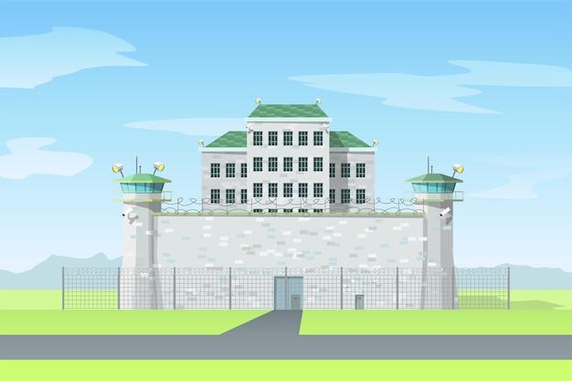 Gefängnis in grauer farbe mit metallkettenzaun