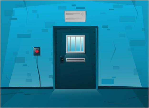 Gefängnis verschlossene tür im cartoon-stil. roter knopf an der wand.