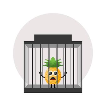 Gefängnisananas süßes charakterlogo
