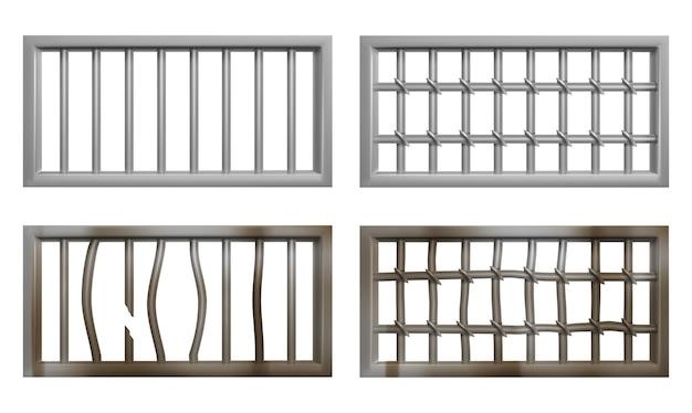 Gefängnisfenster mit metallstangen und rost