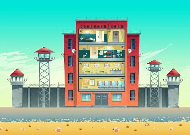 Gefängnisgebäude eingezäunt mit belastetem stacheldraht auf hoher wand