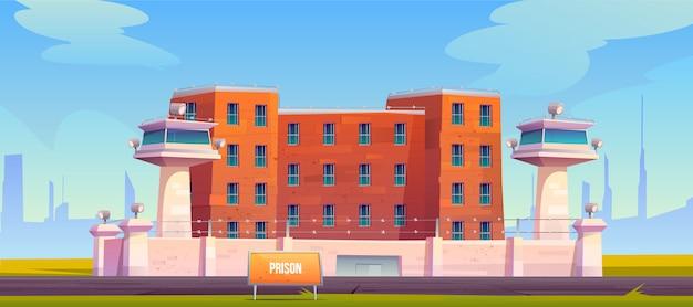 Gefängnisgebäude, eingezäunter stacheldraht