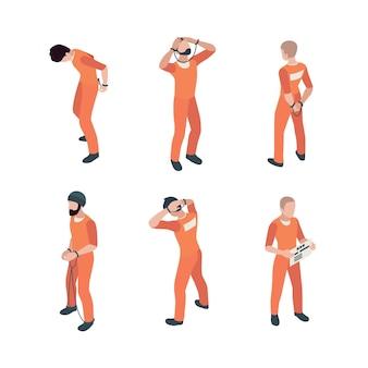 Gefängnisinsassen in orangefarbenem kostüm in verschiedenen posen