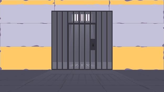 Gefängniszelle. eine gefängniszelle mit einem metallgitter. gefängnis im cartoon-stil. vektor.