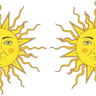 Gefärbt im gelben halben sonnengesicht