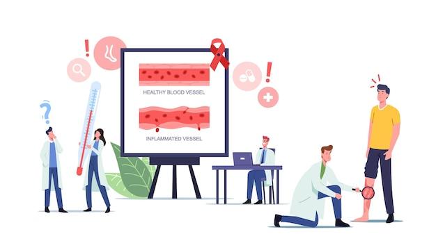 Gefäßentzündung, rosacea-vaskulitis-behandlungskonzept. winzige arztfiguren mit riesigen medizinischen instrumenten untersuchen patienten mit erkranktem fuß, gesundheitswesen. cartoon-menschen-vektor-illustration